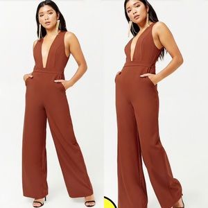Plunging Rust Jumpsuit New With Tags